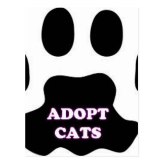 Cat Paw Adopt Cats with Cute Lettering FUN! Postcard