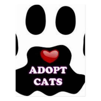 Cat Paw Adopt Cats with Cute Red Heart Kittahz Postcard