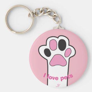 Cat paw basic round button key ring
