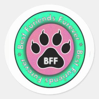 Cat Paw: BFF Classic Round Sticker
