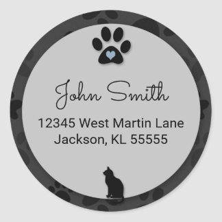 Cat Paw Black with Gray and Blue for Address Classic Round Sticker