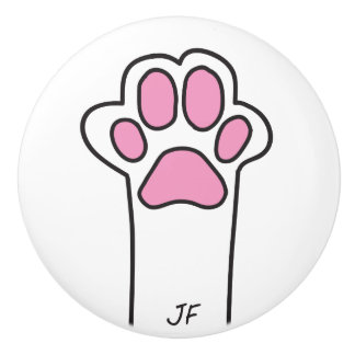 Cat paw ceramic knob