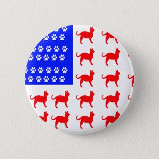 Cat + Paw Flag 6 Cm Round Badge