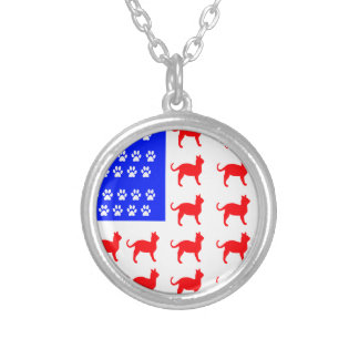 Cat + Paw Flag Silver Plated Necklace