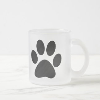 Cat Paw Print Frosted Glass Mug
