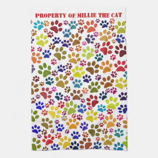 Cat Paw Print Pet Name Pattern Kitchen Towel