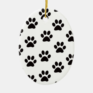 Cat Paw Prints Oval Ornament