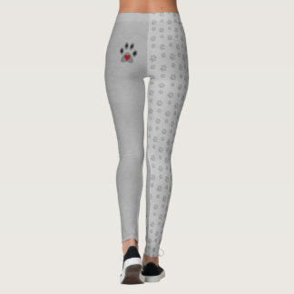 Cat Paw with a Red Heart and Pattern Leggings