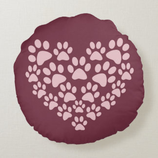 Cat Paws Formed as a Heart Round Cushion