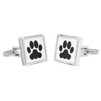 Cat paws silver finish cuff links