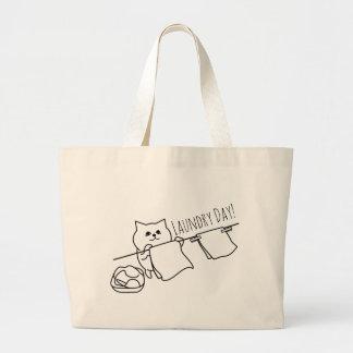 Cat Pegging Out Washing Large Tote Bag
