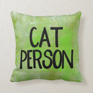 Cat Person Lime Green Polyester Throw Pillow
