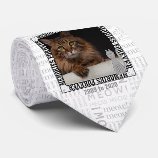 Cat Pet Memorial Mewo Print Photo Tie
