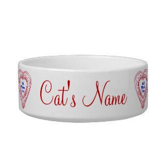 Cat Photo Red Hearts Food Dish Cat Food Bowl