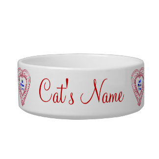 Cat Photo Red Hearts Food Dish Cat Water Bowls