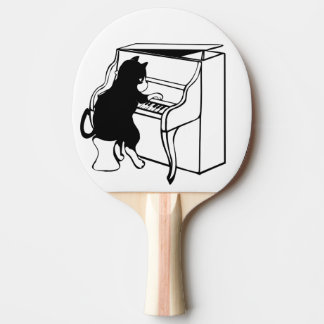 cat pianist ping pong paddle