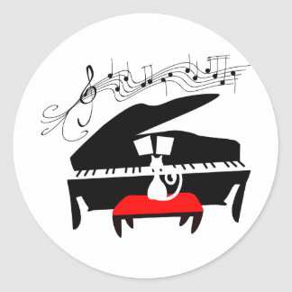 Cat & Piano Classic Round Sticker