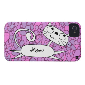 Cat Pink Flower iPhone 4 Case-Mate Case