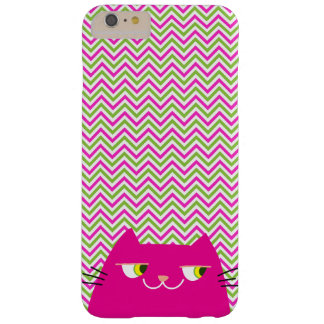Cat Pink Funny Cute Chevron Modern Chic Fancy Cool Barely There iPhone 6 Plus Case