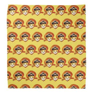 cat pirate cartoon style funny illustration bandana