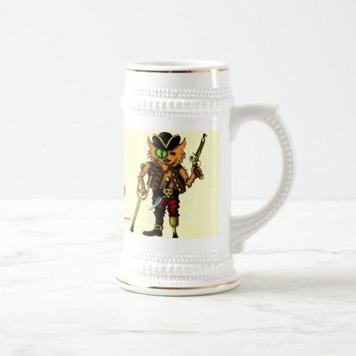 Cat pirate funny beer mug