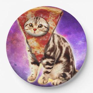 Cat pizza - cat space - cat memes 9 inch paper plate