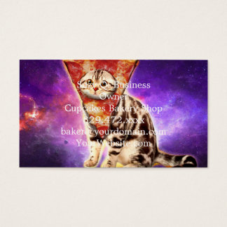 Cat pizza - cat space - cat memes business card