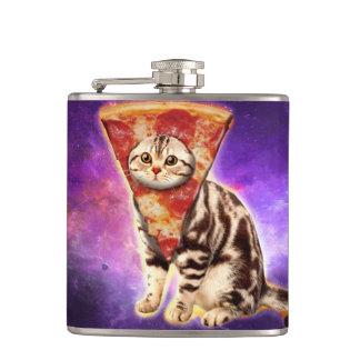 Cat pizza - cat space - cat memes hip flask