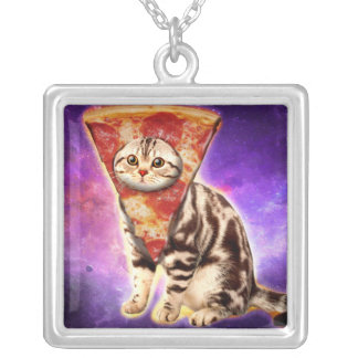 Cat pizza - cat space - cat memes silver plated necklace
