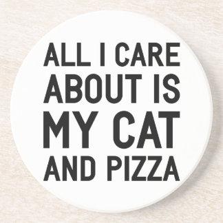 Cat & Pizza Drink Coaster