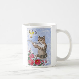 Cat Playing a Flute Coffee Mug