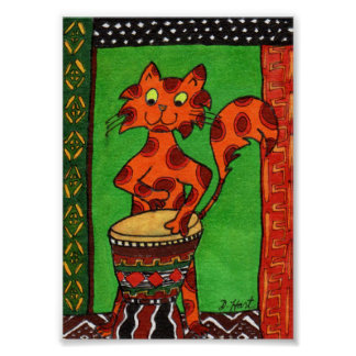 Cat Playing African Djembe Drum Mini Folk Art Poster