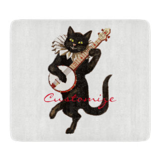Cat playing Banjo Thunder_Cove Cutting Board