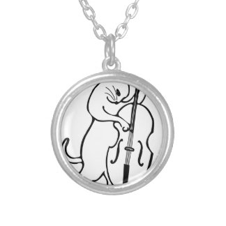 Cat playing double bass silver plated necklace