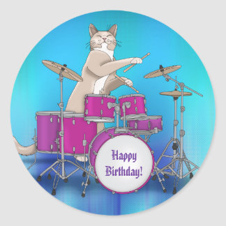 Cat Playing Drums - Blue Round Sticker