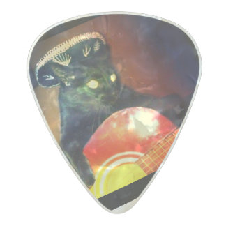 cat playing guitar pick