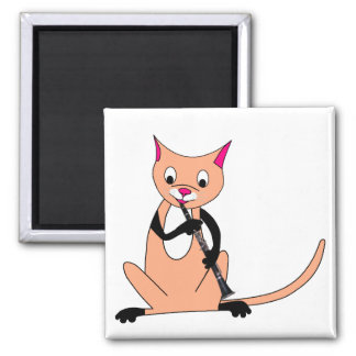 Cat Playing the Clarinet Square Magnet