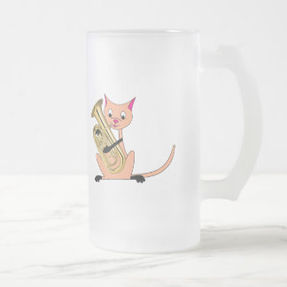 Cat Playing the Euphonium Frosted Glass Mug