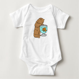 Cat playing with goldfish baby bodysuit