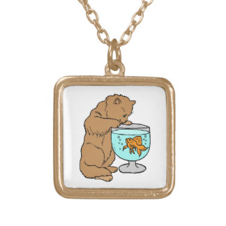 Cat playing with goldfish gold plated necklace