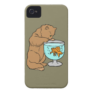 Cat playing with goldfish iPhone 4 covers