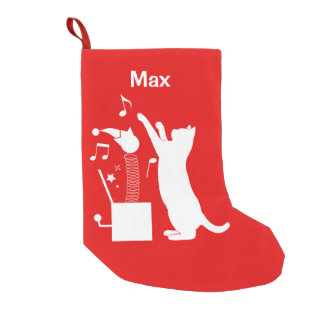 Cat Playing with Jack-in-the Box Small Christmas Stocking