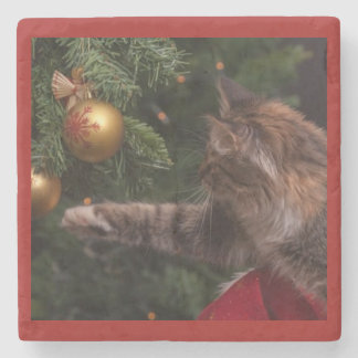 CAT PLAYING WITH ORNAMENT STONE COASTER