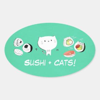 Cat plus Sushi equals Cuteness! Oval Sticker