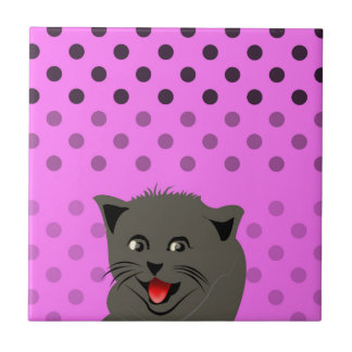 Cat_polka dot_baby girl_pink_desing ceramic tiles