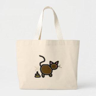cat poop large tote bag