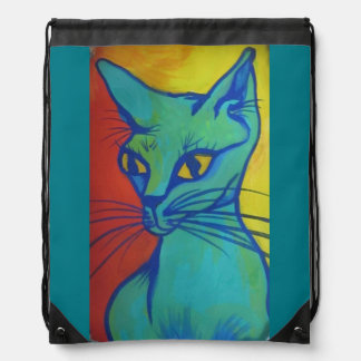 cat portrait drawstring backpack