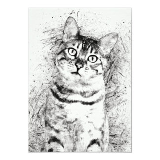 """Cat Portrait Mixed Media on 5"""" x 7"""" Cardstock Card"""