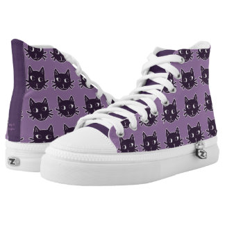 Cat Print Purple Shoes Printed Shoes