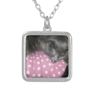 Cat products silver plated necklace
